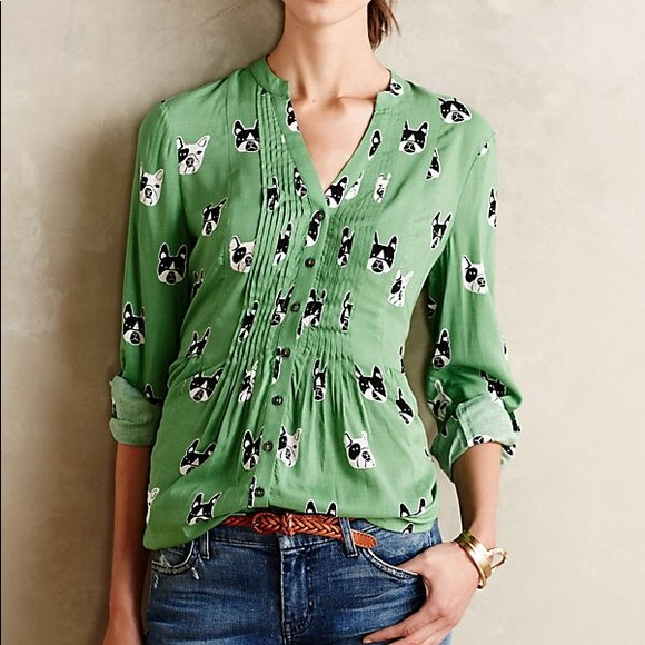 ANTHROLOGIE | Maeve dog button you blouse